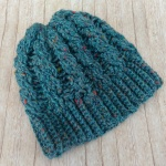 Teal cabled beanie by nelnanandnora